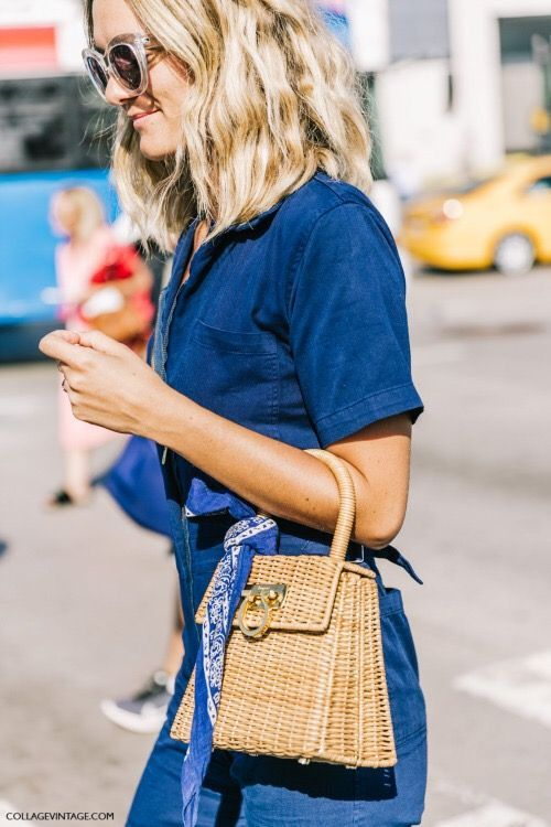 All denim everything with a straw bag @Coveteur