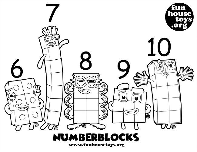 Numberblocks 6 T0 10 Printable Coloring Fun Printables For Kids Coloring For Kids Flag Coloring Pages
