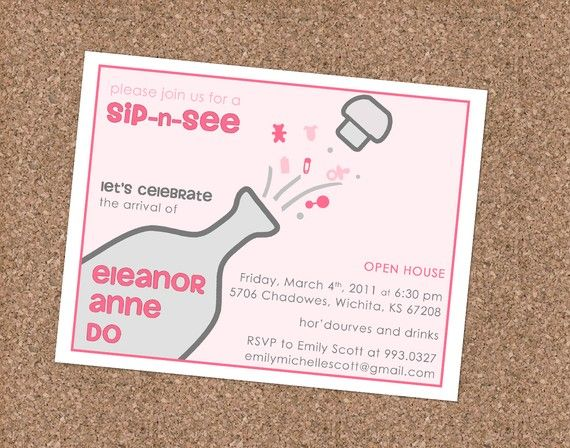 Sip and See - Custom Baby Shower Invitation $5 digital