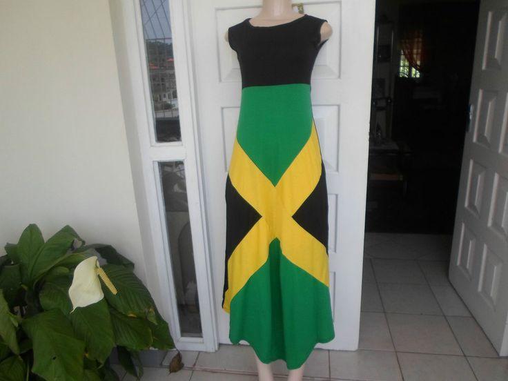 Sexy Dress Jamaican Flag Sleeveless Aunthentic Jamaica wear One Size 100% Cotton