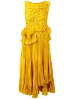 pleated flared dress