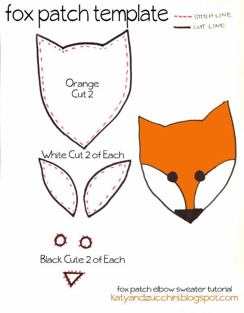 Free fox patch template crafts pinterest for Template of a fox