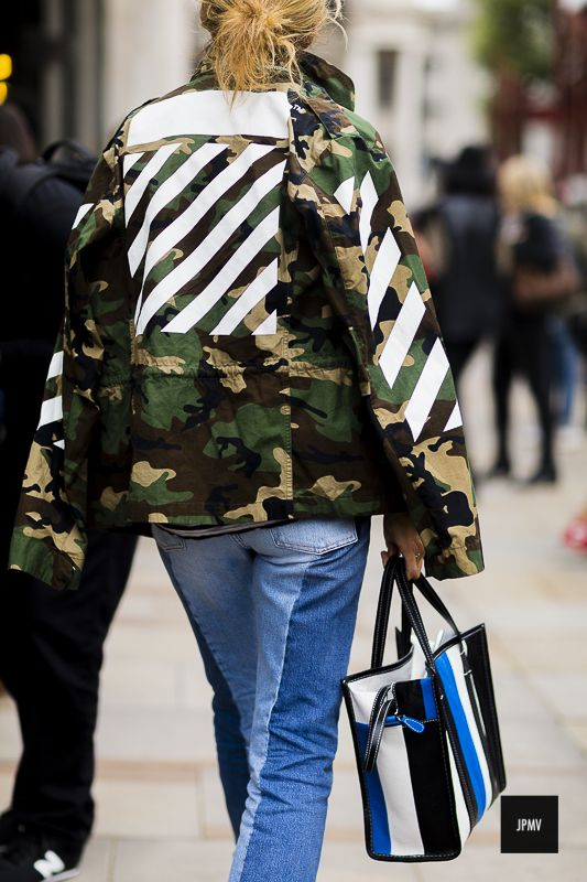 Streetstyle of Sarah Rutson wearing an Off-White jacket and Balenciaga bag during London Fashion Week Spring Summer 2017