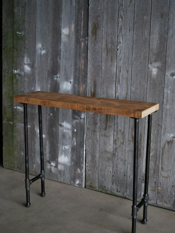 4 ft industrial console table with pipe legs and hanging locker basket freeu2026