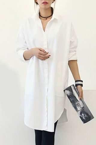 Chic Shirt Collar Long Sleeve Solid Color Shirt For Women