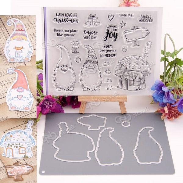 Christmas Gnome Metal Cutting Dies Stamp DIY Scrapbook Card Album Decor Gift