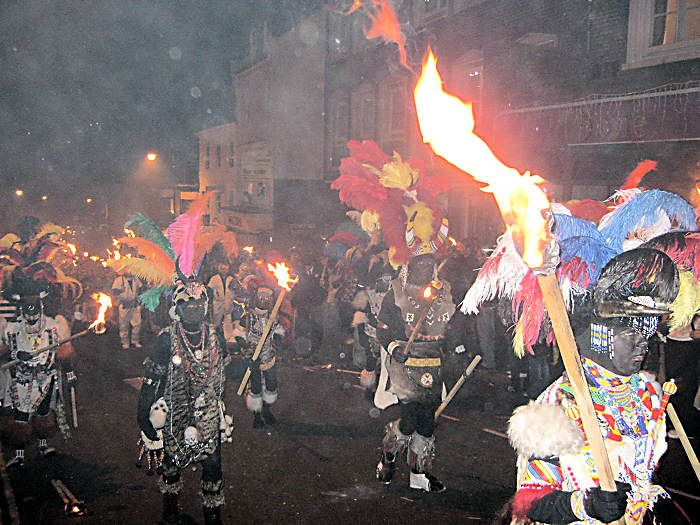 The Lewes Bonfire Night Celebrations : Zulus In Procession