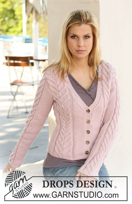 """Knitted DROPS jacket in """"Nepal"""" with cables. Size S to XXXL. ~ DROPS Design"""