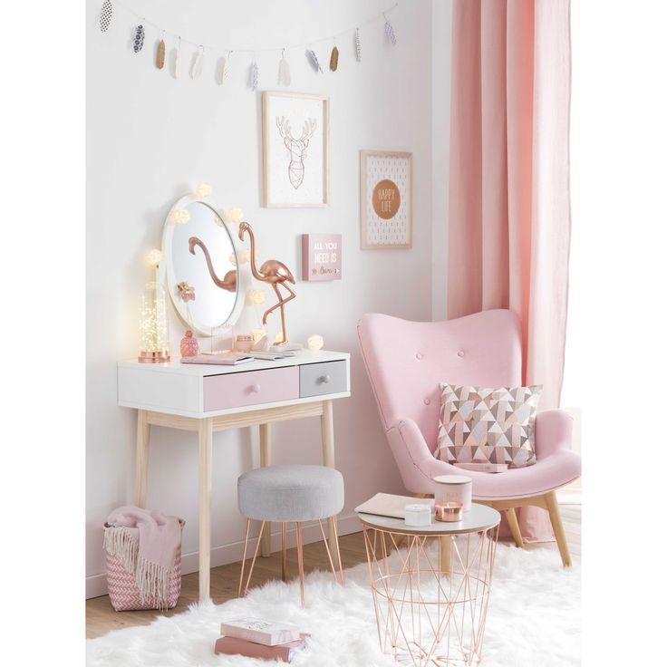 Tocador de madera blanco y rosa L. 69 cm Blush | Maisons du Monde