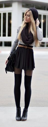 DUPLICATE? ankle boots and thigh high socks with full mini skirt