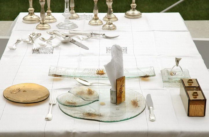 Fine dining set up for banqueting. Tableware designs by Glass Studio for St. Regis Singapore
