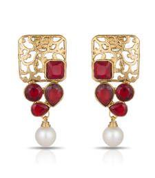 Buy Luxor Royal Red Designer Earrings Mother's Day Gift for Women ER-1281 danglers-drop online