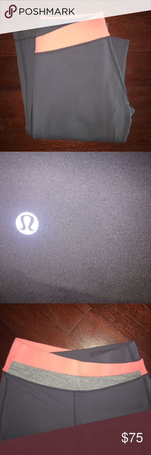 Lululemon bootcut leggings Great condition!! Rarely worn and have a high waistband. Grey with pink and grey accents. No sign of wear! lululemon athletica Pants Leggings