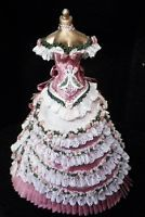 Dollhouse Miniature Victorian Party Gown Custom Made on Corset Mannequin OOAK