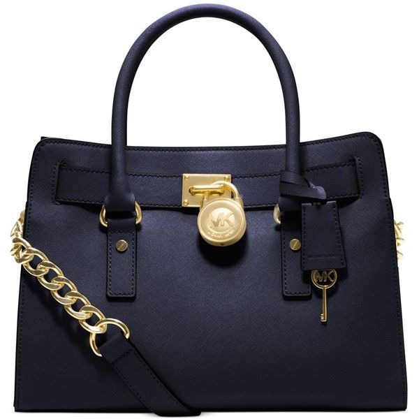 Michael Michael Kors Hamilton Saffiano Leather East West Satchel ($223) ❤ liked on Polyvore featuring bags, handbags, navy, navy satchel handbags, saffiano leather handbags, navy blue handbags, navy purse and navy blue purse