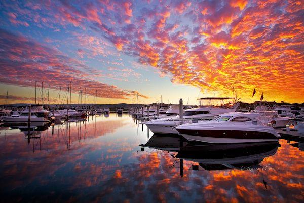 Sunset over Hope Island Marina, Gold Coast, Queensland, Australia - Photo by Karen Plimmer