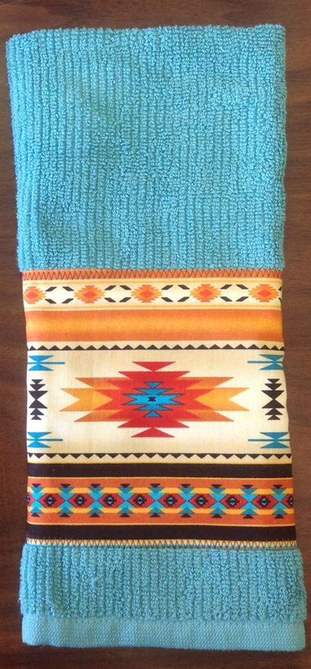 Kitchen Towel Set Native American Design Turq Green Towel, Gold Strip,  Making More