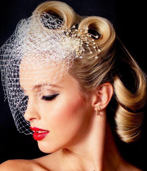 Trendy Vintage Wedding Makeup Bridal Looks Make Up Birdcage Veils 56+ Ideas