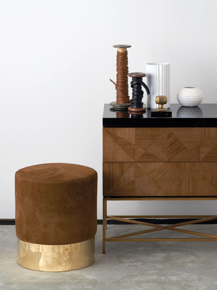 velvet stool with brass base
