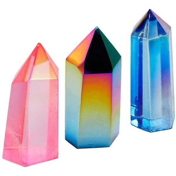 rockcloud Pink&Rainbow&Blue Titanium Coated Healing Crystal Point... ($20) ❤ liked on Polyvore featuring home, home decor, blue home accessories, stone home decor, crystal home decor, crystal figurines and pink home decor