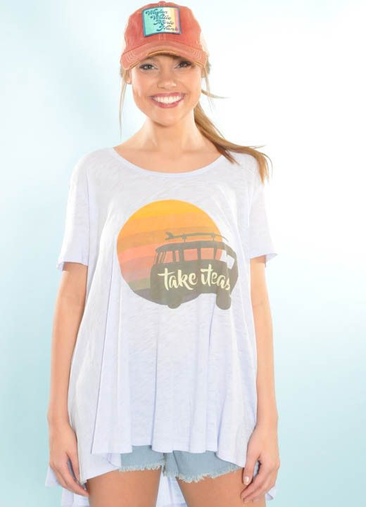 "Judith March-New Arrival shopdejavu.com $46.00 Judith March Periwinkle Flowy Tee W/ ""Take It Easy"""