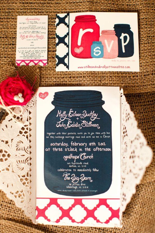 DIY Mason Jar Wedding Invitation Suite