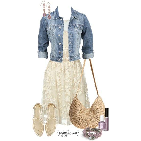 lavender & cream casual by enjoytheview on Polyvore