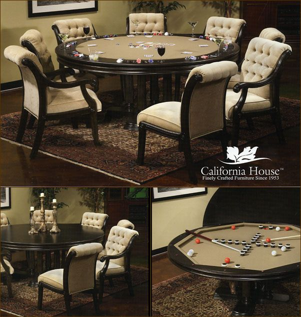 "Brookdale Poker Table by California House.(Proudly Custom Built to Order in the United States)  Available in 42"", 48"", 54"", 60"" or 66"" Sizes.Optional Counter Height 36"" or Pub Height 41"" At http://gameroomfurnitureetc.com/pokertables.asp"