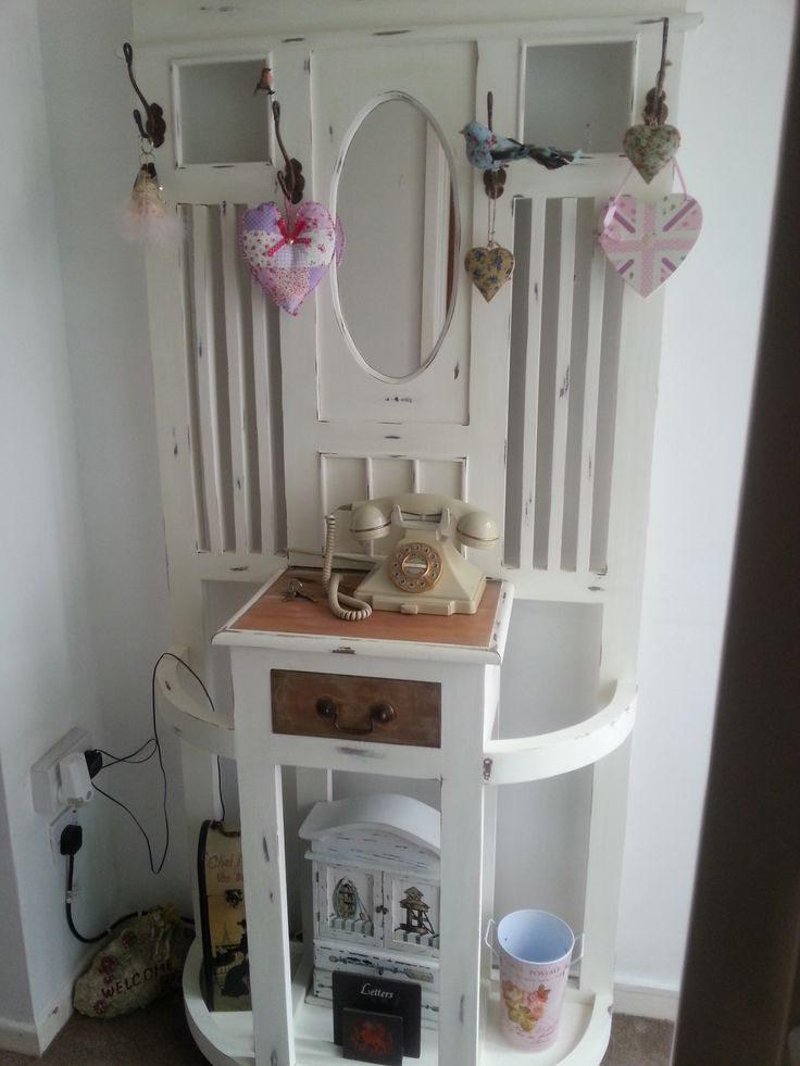 this once drab pine hall stand was instantly transformed into this now gorgeous shabby chic delight !!