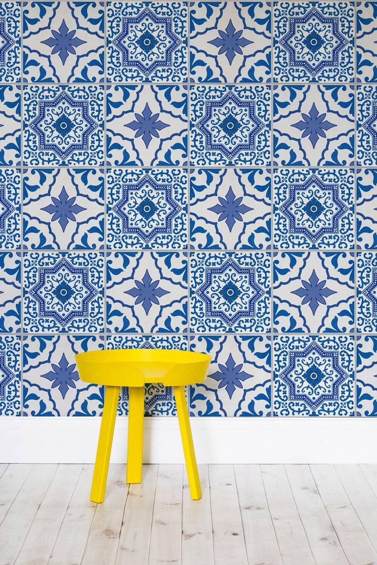 Inspired by traditional Portuguese Azulejos tiles, this is a wallpaper we can definitely see on our walls. A lovely blue and white combination that would brighten up any stylish room.
