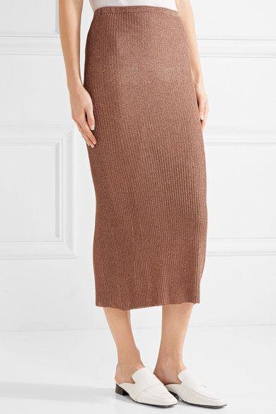 Tibi - Metallic Ribbed-knit Midi Skirt - x small