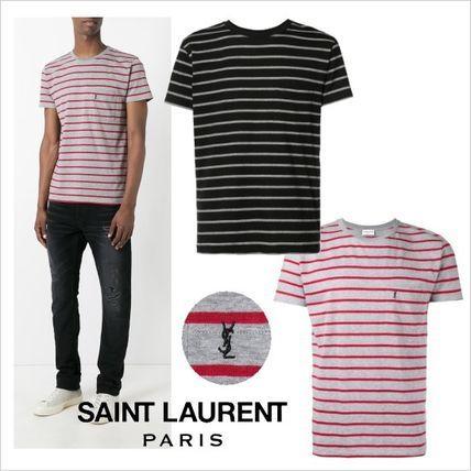 ●2017●人気 Saint Laurent  ストライプ YSLロゴ  Tシャツサンローラン 2017 ファッション