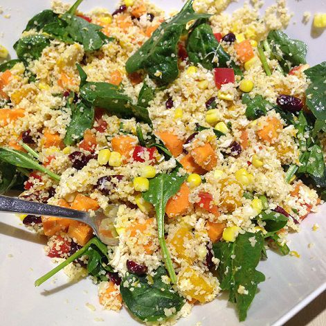 Shredded chicken and couscous salad