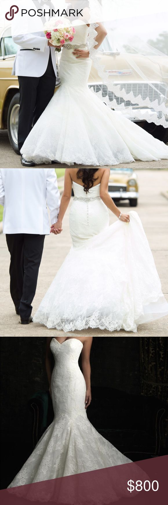 Allure Bridals wedding dress Style 8970.. Mermaid shape strapless ivory lace dress Dresses Wedding