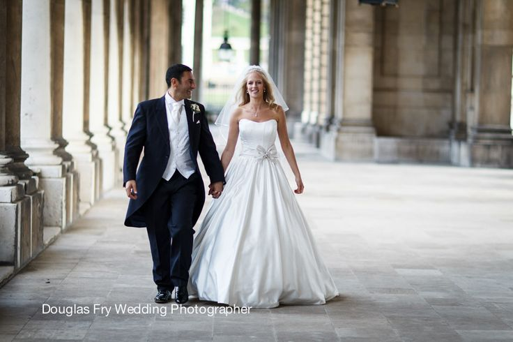 Bride and groom outside the Old Royal Naval College.