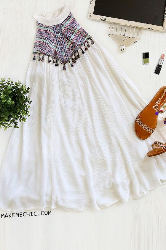 Sleeveless Multicolor Tassel Dress WHITE