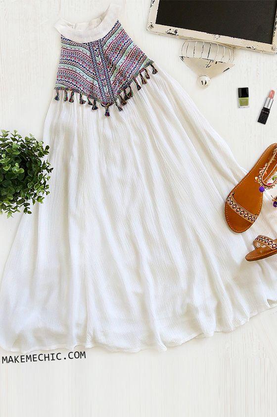 Sleeveless Multicolor Tassel Dress WHITE
