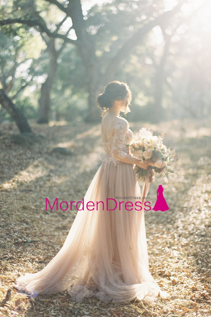 2017 Tulle Scoop Wedding Dresses A Line 3/4 Length Sleeves With Applique