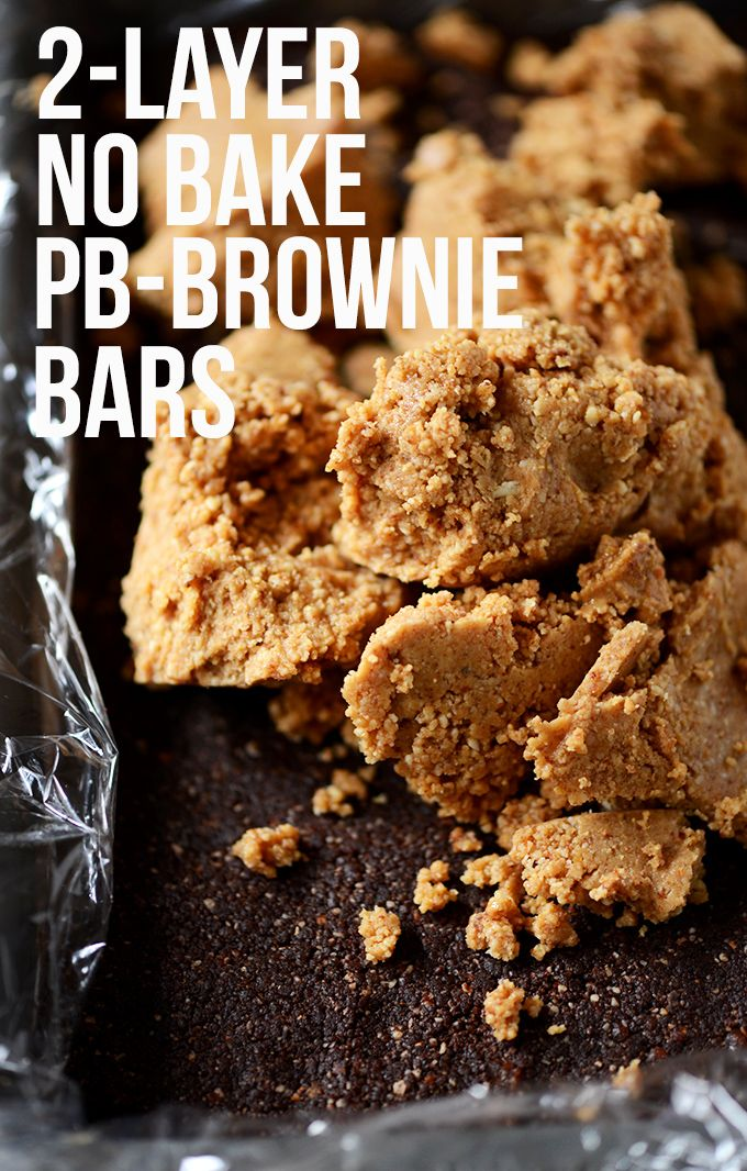 ... for lazy people like me! 2-Layer No Bake Peanut Butter Brownie Bars