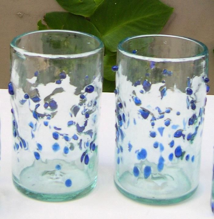 Bercak Biru 13cm height. Cheer your day with our Bercak Biru recycled glass, with blown glasses technique.