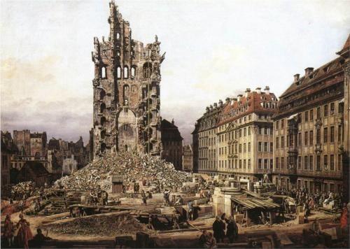 The Ruins of the old Kreuzkirche, Dresden - Bernardo Bellotto