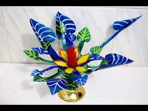 Handmade flower vase from plastic bottle - How to make flower vase on making sculpture, making baskets, making flower boxes, making flower candles, making flower pillow, making pot, making flower art, making glass, making pottery, making flower bed,