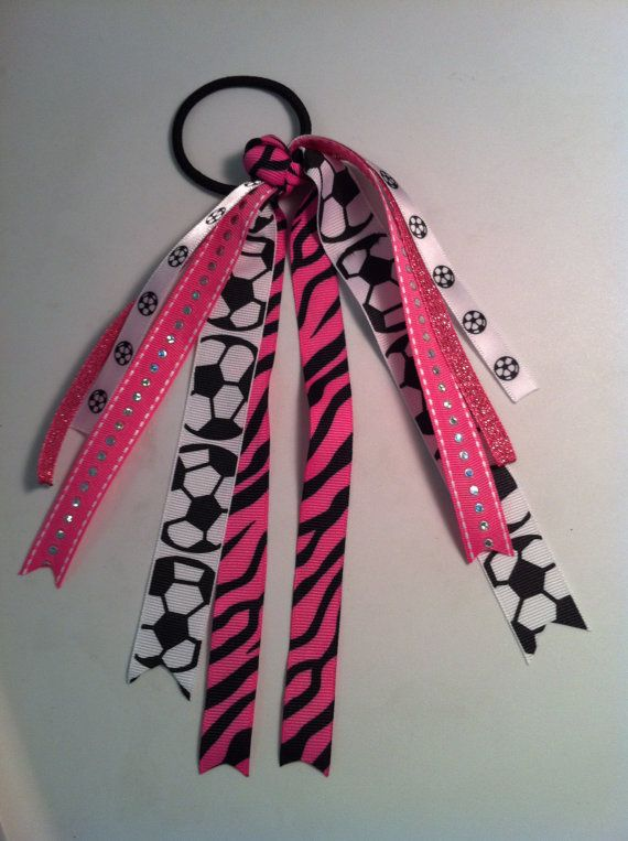 CUSTOM soccer softball volleyball cheer bow pony tail ribbons pink black zebra red blue yellow green purple