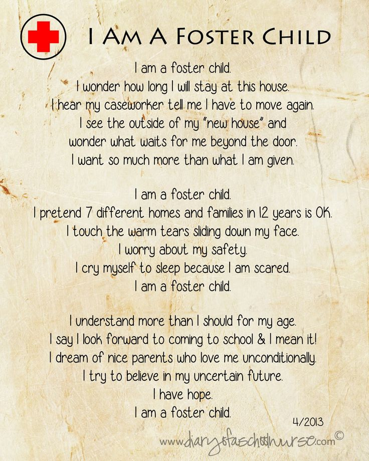 Diary Of A School Nurse: i am a foster child...