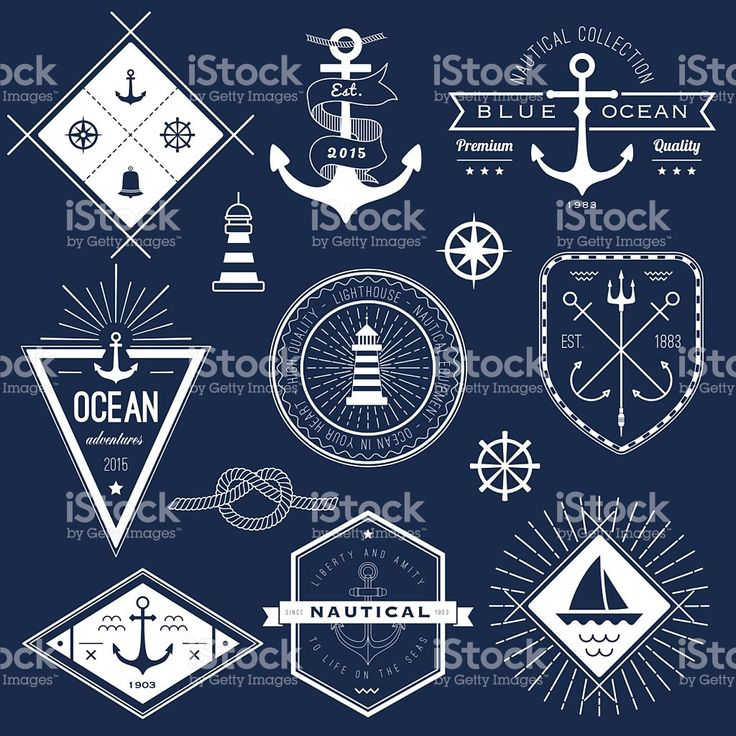 Set of white and navy nautical logos, badges and labels royalty-free stock vector art