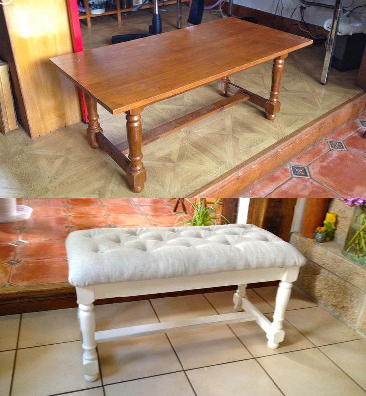 Transformer une vieille table basse en banquette cosy. Turn an old table into a cosy seat.