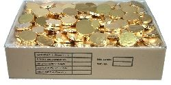 A 5kg box of approximately 410 milk Chocolate Medallions Gold Bulk, wrapped in gold coloured foils for extra freshness.