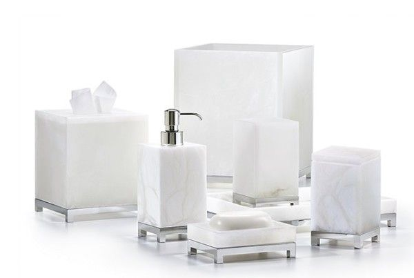 Alabaster and chrome bathroom accessories