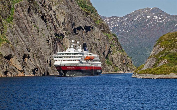 Télécharger fonds d'écran MS Nordnorge, navire de croisière, fjord, Norvège