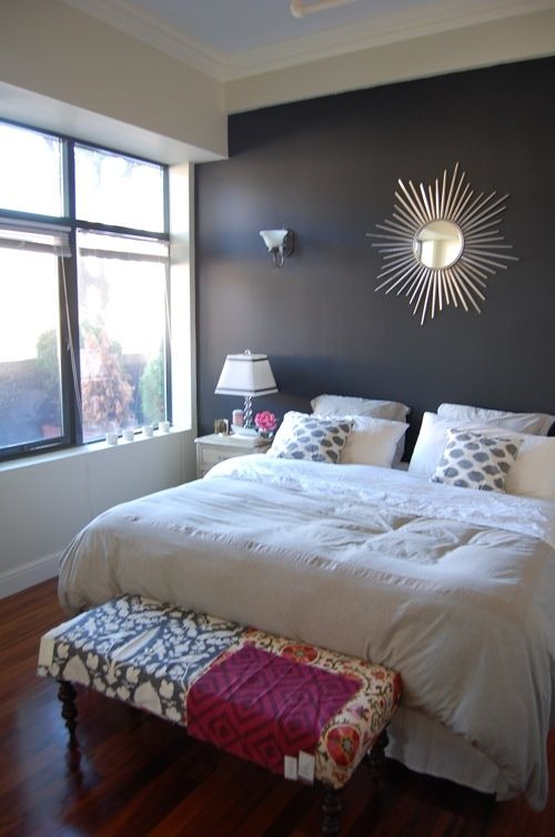 Our Bedroom King Sized Bed White Bedding Gray Walls Dark Wall Behind